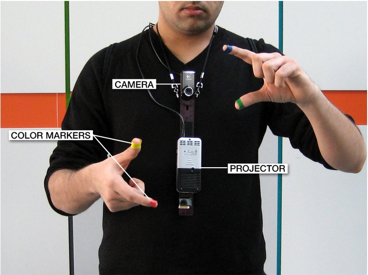 SixthSense is a wearable gestural interface that augments the physical world around us with digital information and lets us use natural hand gestures to interact with that information.  This is a Project by Pranav Mistry (MIT)  http://www.pranavmistry.com/projects/sixthsense/