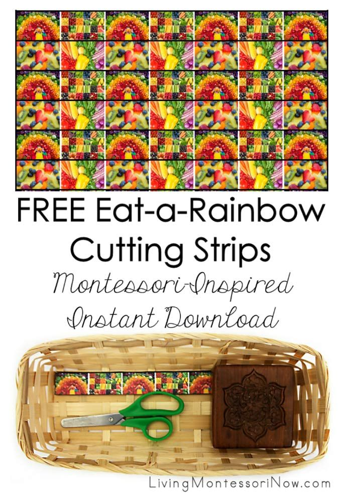 These free eat-a-rainbow cutting strips are a Montessori-inspired instant download - super easy to download and prepare! They're perfect for a nutrition or rainbow unit for toddlers and preschoolers. Post includes the Montessori Monday linky collection.