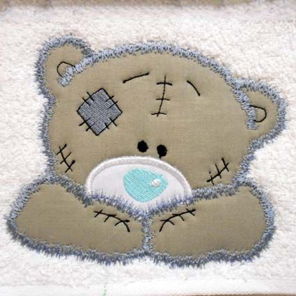 Tatty Teddy Type: Applique Size: 5x7 Formats: ART, EXP, HUS, JEF, PES, VIP, VP3, XXX All formats contained in a single ZIP file.