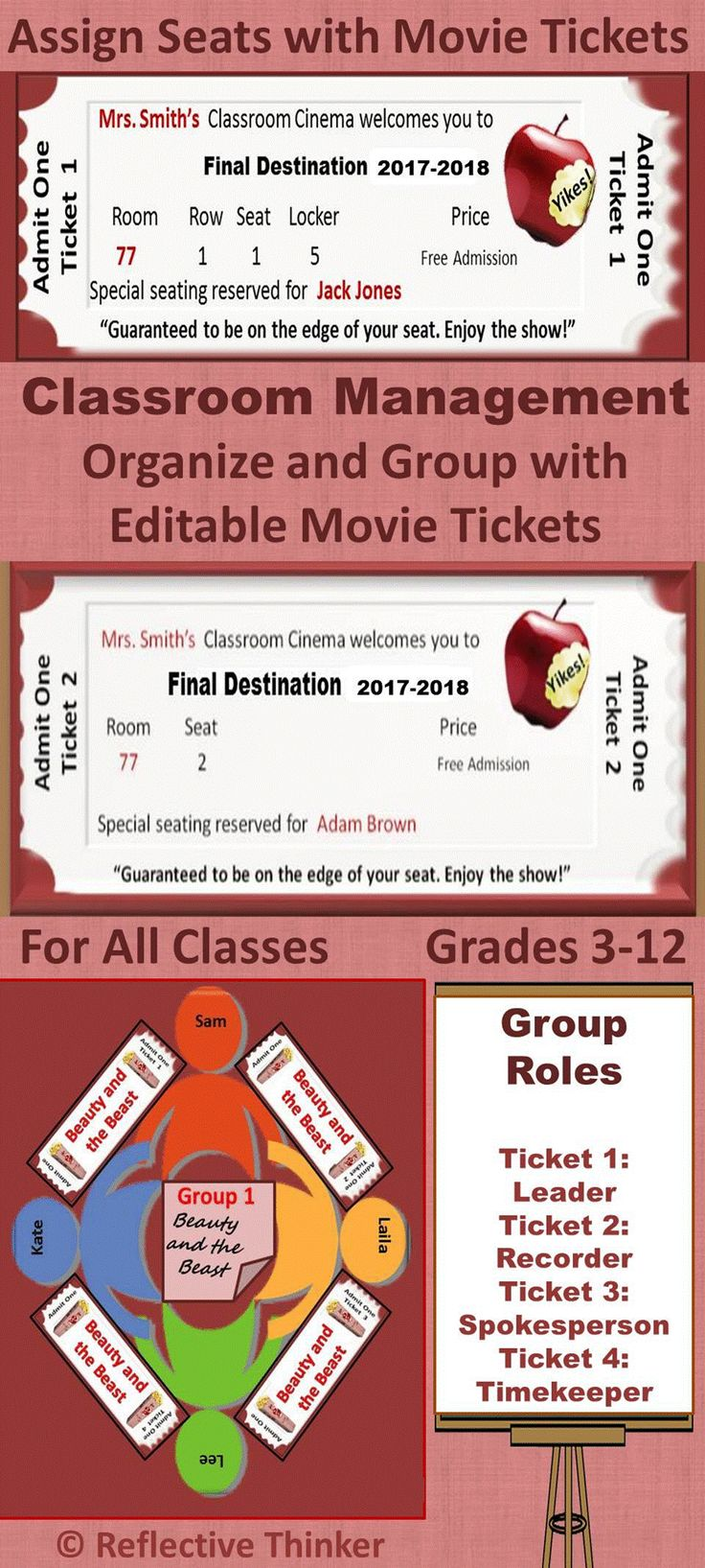Use the 100 editable movie tickets and materials in this resource to organize and manage as well as add fun to mundane tasks such as assigning seats, formulating lines, and grouping students.