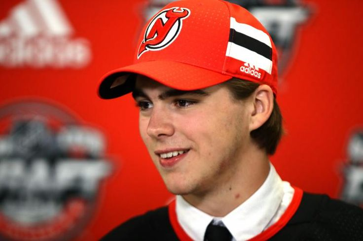 CHICAGO, IL - JUNE 23:  Nico Hischier is interviewed after being selected first overall by the New Jersey Devils during the 2017 NHL Draft at the United Center on June 23, 2017 in Chicago, Illinois.  (Photo by Jonathan Daniel/Getty Images)