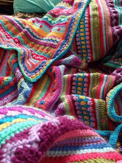 Rainbow Crochet Blanket Granny Stripe