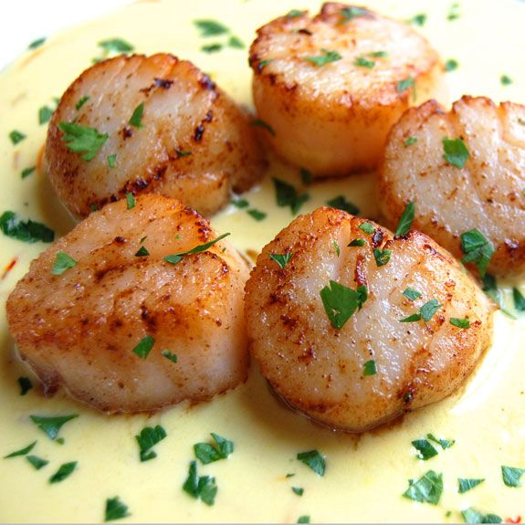 "Seared Scallops with Saffron Sauce- your friends and family will collectively ""sigh"" when they eat this ridiculously tasty dish."