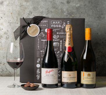 Premium Wine Trio Pack Gift Set| Wine & Champagne Gift Hampers | Gourmet Basket