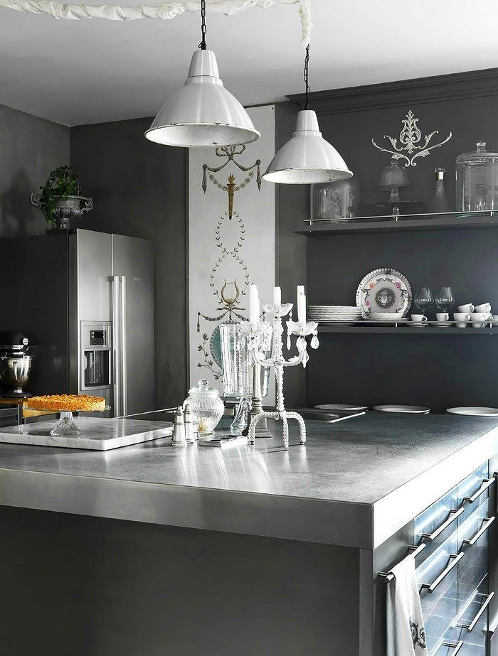Interiors: CoolBeauty - Look at this great mix of contemporary appliances and counter tops with shabby decor
