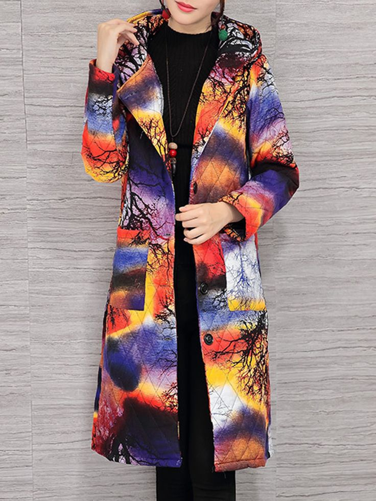 Printed Hooded Pockets Coats For Women - Newchic Plus Size Outerwear Mobile