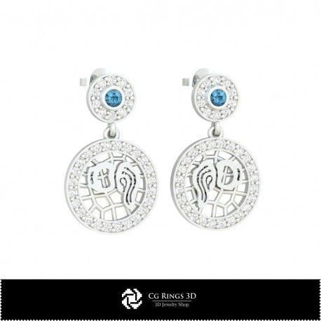 3D CAD Aquarius Zodiac Children Earrings