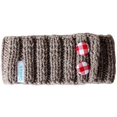 Teplá ručně pletená čelenka ze směsi vlny a polyakrylu ozdobená dvěma látkovými knoflíky.