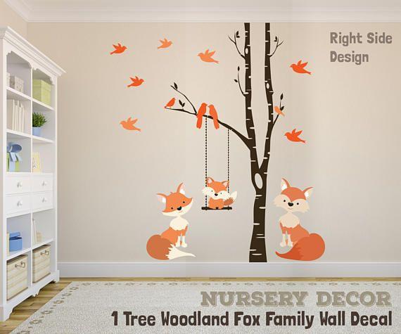 FOX Family Wall Decals Baby Fox Mom Fox & Dad Fox Woodland