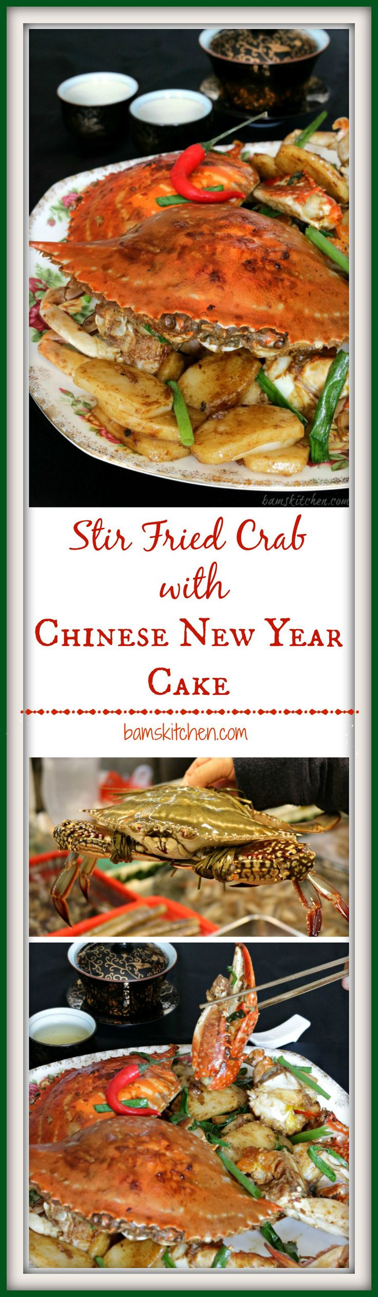 Stir Fried Crab with Chinese New Year Cake. Delicious sweet flower crab (Hua xie) and sticky rice cakes (Nian Gao) from the Zhejiang Province in China will tantalize your taste buds and wow your guests this Lunar New Year- Bam's Kitchen