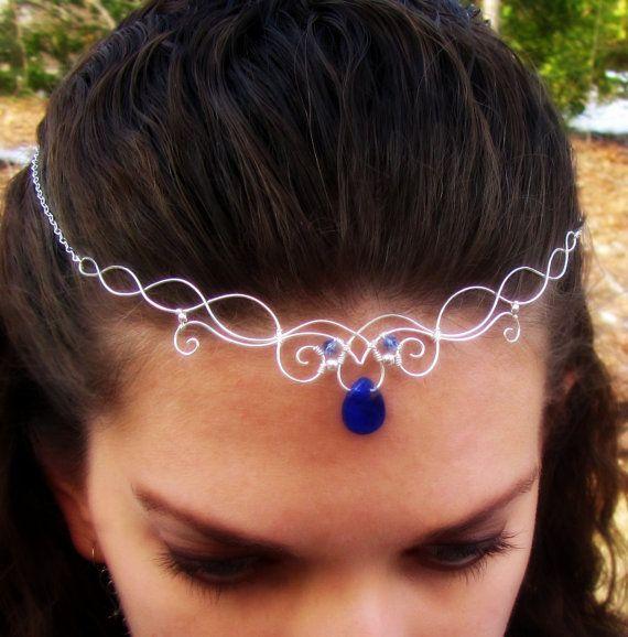 Elven Circlet Necklace - Silver Wire Wrapped with Blue Quartz - Elvish, Celtic, Medieval, LOTR, LARP - Aquarië