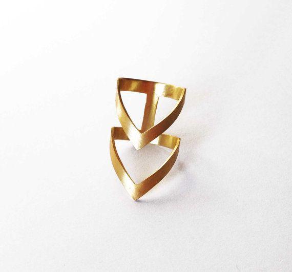 gold chevron ring - 24K gold plated bronze ring -  statement ring. $39.00, via Etsy.