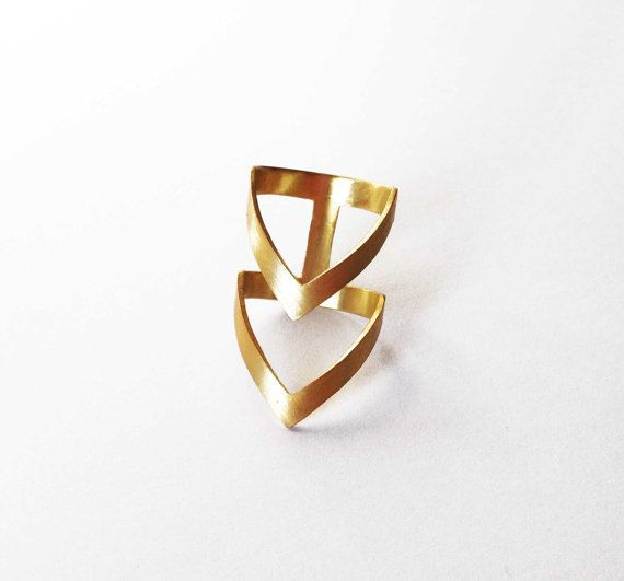 gold chevron ring  24K gold plated bronze ring   by katerinaki1977, $39.00