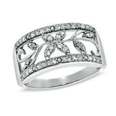 1/4 CT. T.W. Diamond Filigree Band in 10K White Gold - View All - Gordon's Jewelers