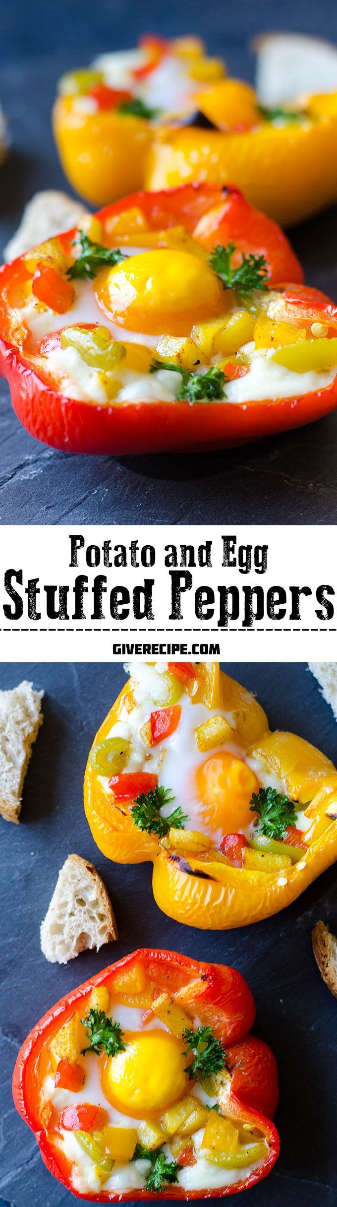 The PERFECT breakfast stuffed peppers. Fried potatoes, egg and mozzarella packed in peppers. YUM! Peppers are never boring with this recipe! | giverecipe.com | #breakfast #brunch #egg
