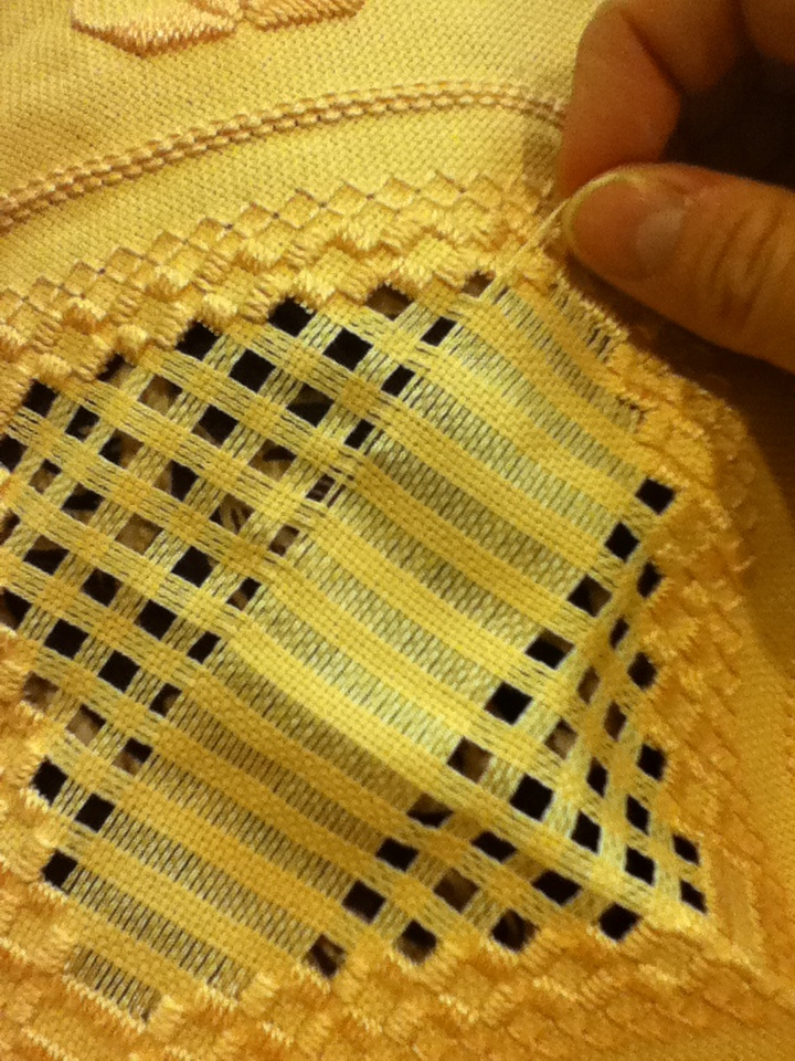 Hardanger Embroidery Step 5: Pulling Threads. (This goes hand-in-hand with step 4.) Embroidery by Jennifer Broschinsky