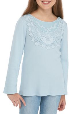 True Craft Ls Rib/Lace Tee Girls 7-16 - Sisley Blu - Xl