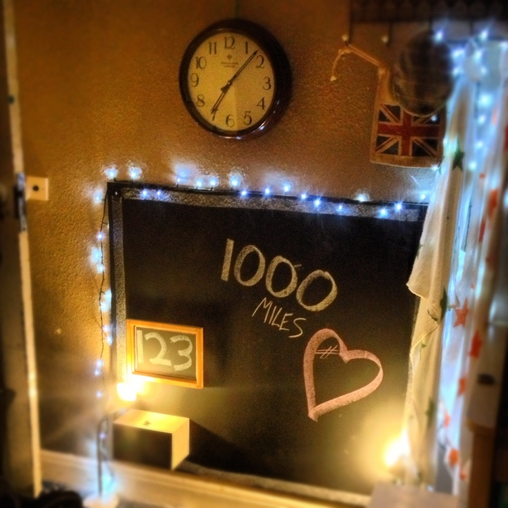 Homemade chalkboard, fairy light border, mounted chalk box & backless frame for chalk specialities.
