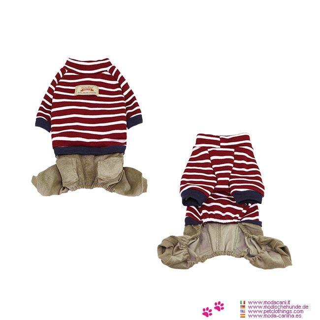 Anzug aus Baumwolle für kleine Hunde in Rot - Anzug für kleine Hunde aus 100% Baumwolle und Fleece-Innenseite; bestehend aus dem Roten Sweatshirt mit kurzen Ärmeln und aus Grun Kordhosen