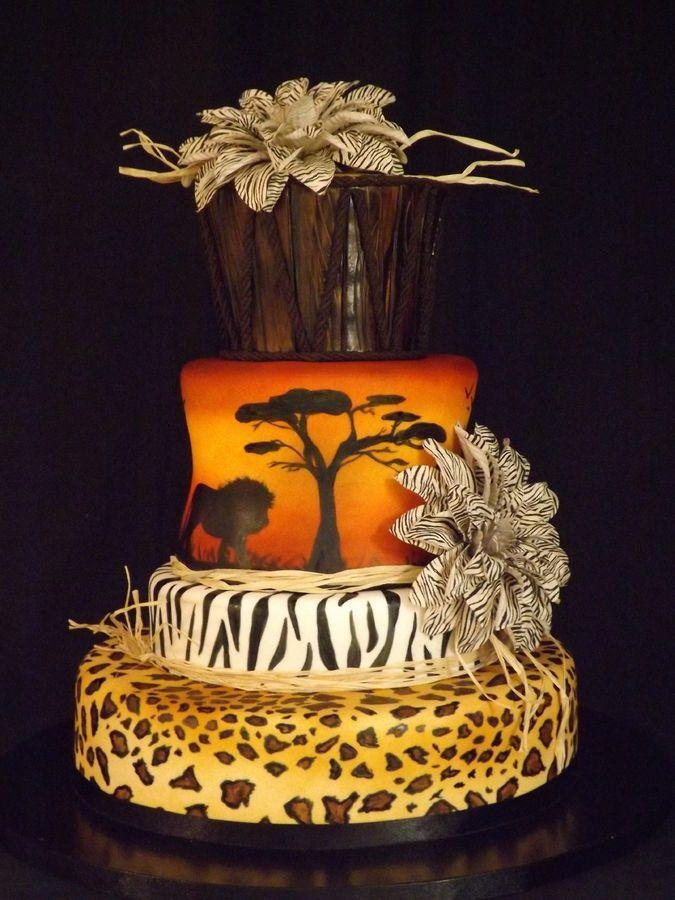 reminds me of lion king, beautiful safari cake