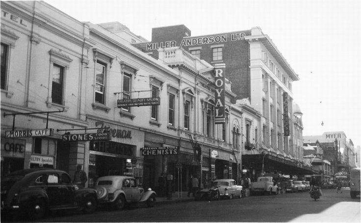 Theatre Royal, Hindley Street, Adelaide, 1955 - Hindley Street, north side. The nearest end of Miller Anderson's verandah is 50 yards west of the west side of Gresham Street.