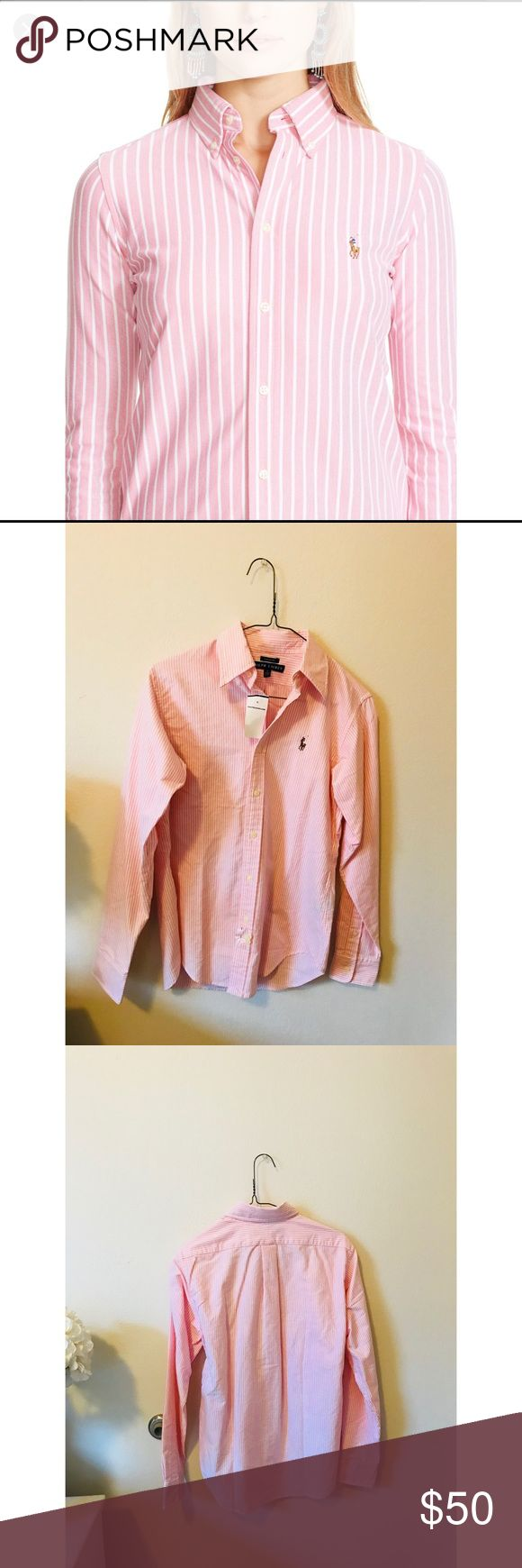 NWT Polo Ralph Lauren Knit Oxford Polo Ralph Lauren Knit Oxford Button Down. Color is white and light pink stripes. Classic fit. NEW WITH TAGS, never been worn before brand new. Women's size 4. Comment with questions. Will ship out same day of purchase ❤️ Polo by Ralph Lauren Tops Button Down Shirts