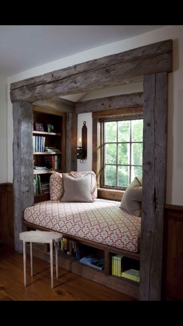 Window seat for upstairs alcove Think about adding a curtain for privacy if someone is sleeping there!
