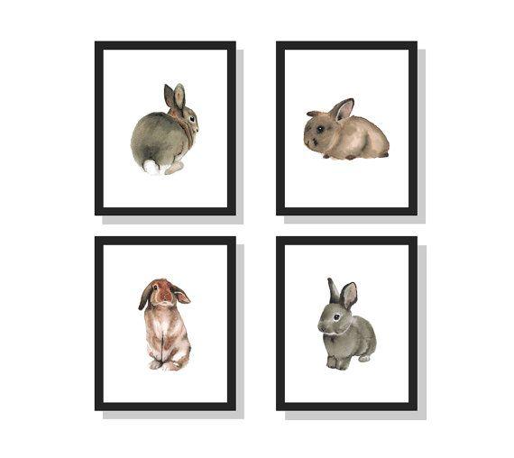 Watercolor Bunnies Set bunny rabbit art print by OakCreekGallery