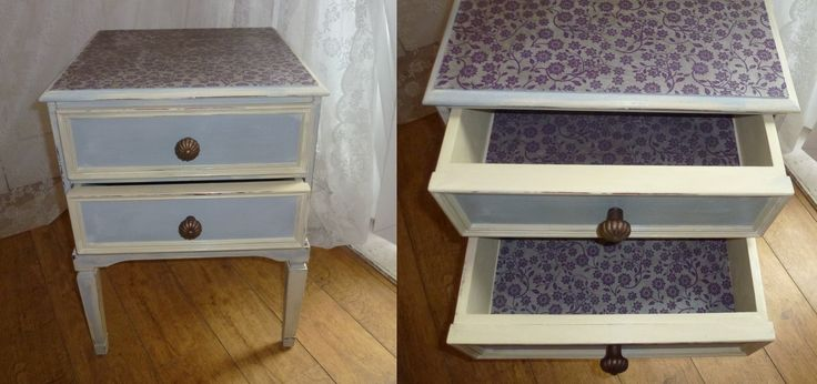 Gorgeous little side/bedside table, front view showing light distress and lovely vintage handles. The drawers are undercoated in Annie Sloan Country Cream with an overlay of Paris Grey. Top and inside drawers lined with a lovely purple and silver handmade paper sourced locally and varnished for extra protection. Paintwork waxed with a clear soft wax.   £60. Postage for this item will follow soon. Free delivery within 50 mile radius of the Central Scottish Borders.