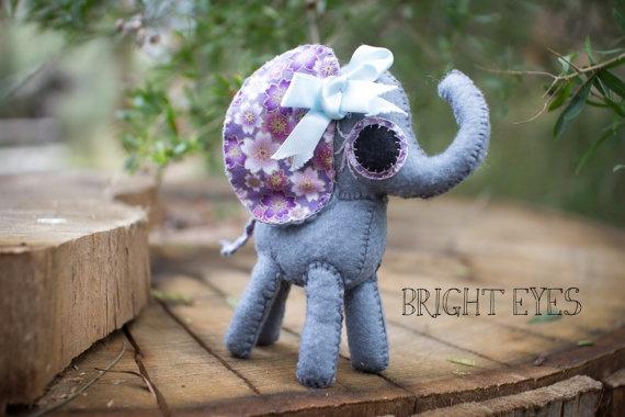 Adorable Handmade Plush Elephant by Brighteyesshop on Etsy