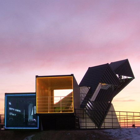 Korean designers AnL Studio have completed an observatory made of shipping containers in Songdo New City, Incheon, South Korea.