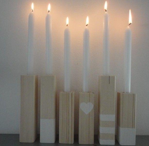 Kaarsenstandaards gemaakt van vurenhout van MMkado. Gedecoreerd met witte verf voor een natuurlijk effect. Is ook vrolijk met een paar felle kleuren!