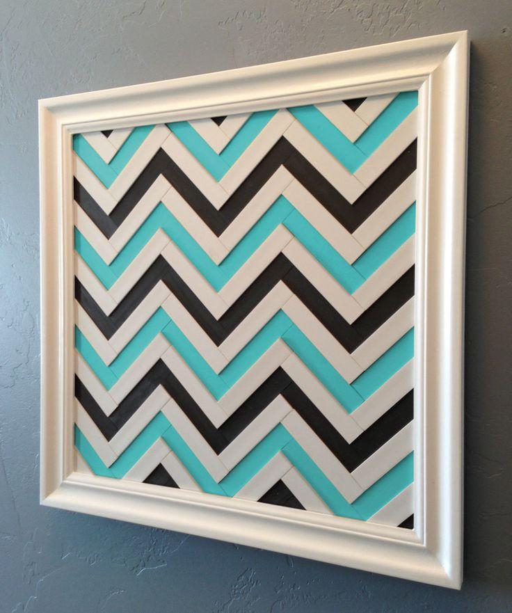 Chevron Art - Turquoise & Gray Chevron Wall Decor - Handmade Wood Wall Artwork - White, Turquoise, Charcoal Colored Chevron Stripe Pattern. $299.00, via Etsy.