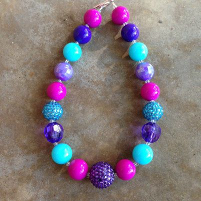 Chunky girls frozen necklace; chunky toddler necklace; pink and purple chunky necklace; frozen necklace, $19