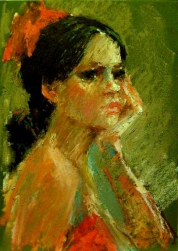 oil pastel art   Waiting - original oil pastel portrait painting, original painting by ...