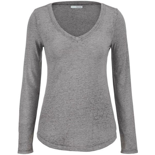 maurices Burnout Tee With Long Sleeves ($24) ❤ liked on Polyvore featuring tops, t-shirts, shirts, long sleeves, sweaters, grey, plus size t shirts, grey long sleeve shirt, long sleeve t shirt and gray t shirt