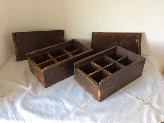 Wooden box with lid craft storage vintage French set of 2