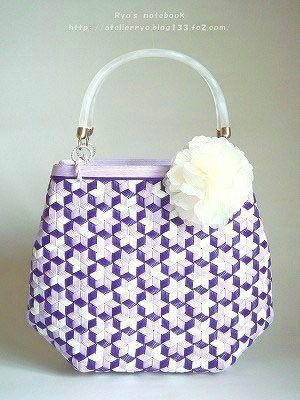 エコクラフト・紙バンド/鉄線編み・亀甲網代編み:星花 Tessen weave bag #basket #basketry