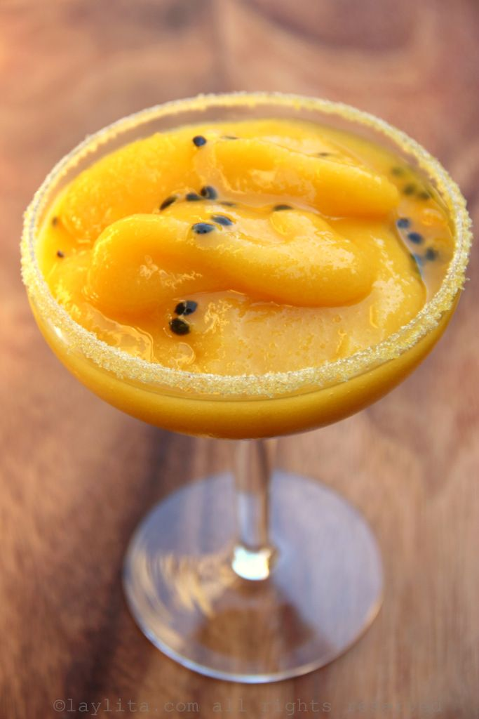 Frozen passion fruit mango margaritas