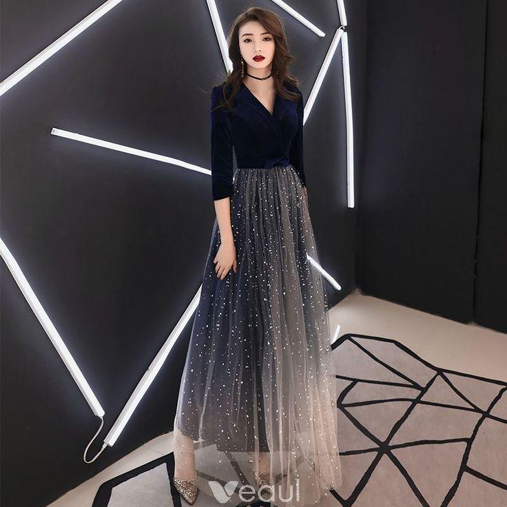 Elegant Navy Blue Evening Dresses 2019 A-Line / Princess V-Neck Suede Star Bow 3/4 Sleeve Floor-Length / Long Formal Dresses