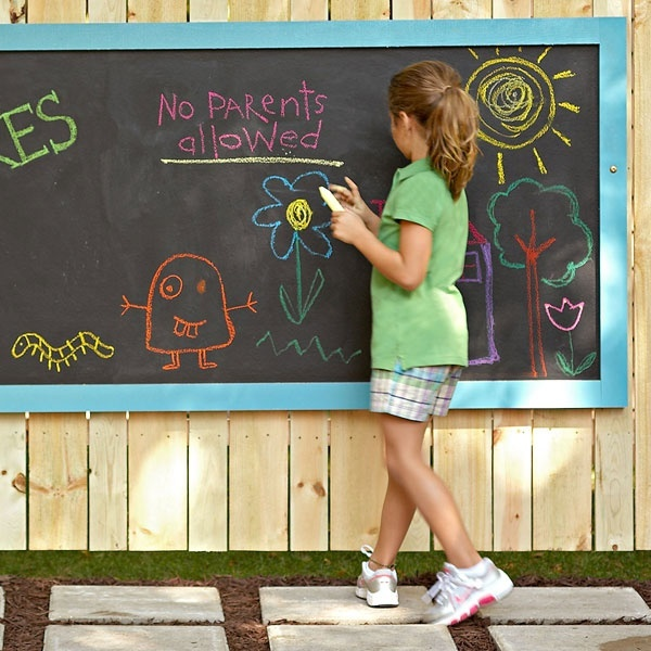 OUTDOOR CHALKBOARD WALL [USD 450].  Stretching 10 meters across the wall, this chalkboard will long enough for many children to all work on at once or for one amazing mural