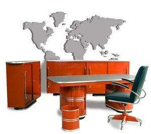 Red Mauser Directors Office. Designed in 1939 this furniture, especially in red color (original, no repaint!) have been vanguard pure!