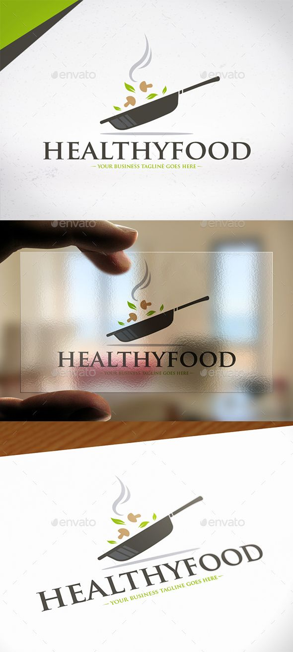 Healthy Food Logo Design — Photoshop PSD #dinner #cooking school • Available here → https://graphicriver.net/item/healthy-food-logo-design/19803378?ref=pxcr