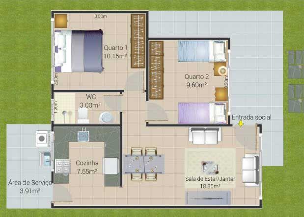 Planos de casas para terreno angosto de 70m2 planos for 70m2 house design