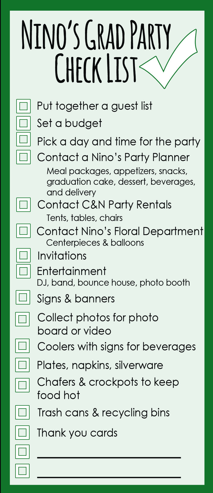 College Graduation Party Checklist | Graduation Party Planning Checklist