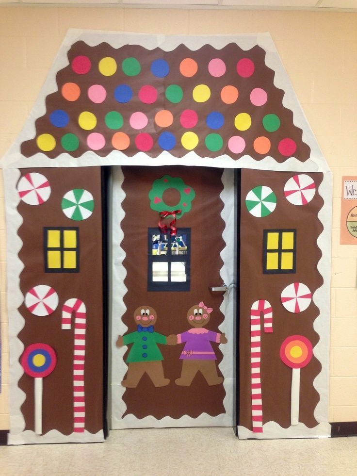 I know this is supposed to be for a classroom, but I kind of want to do this with our front door. If you laminate the pieces, you could reuse them each year. -- Classroom Door Decorations   Winter classroom door decoration -gingerbread house   Christmas
