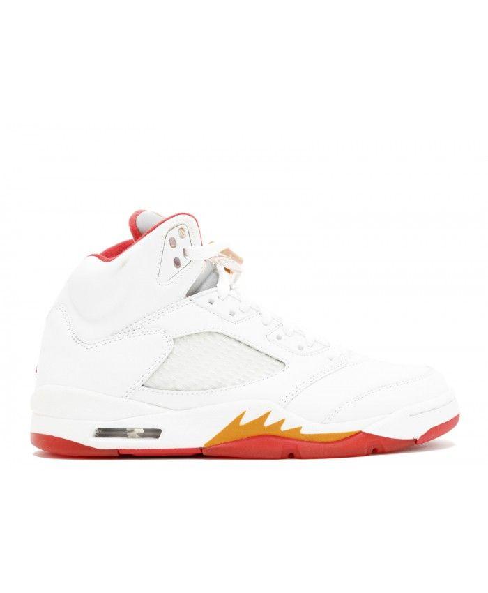 0878f9161ba902 Wmns Air Jordan 5 White Fire Red Sunset Dark Cinder 313551 161