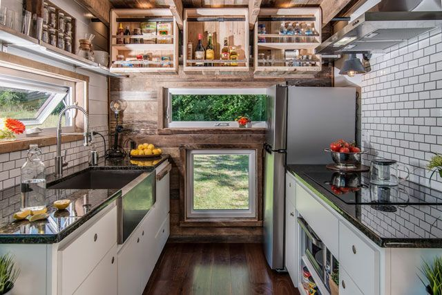 This Gorgeous Tiny House Is Proof That Size Doesn't Matter #refinery29  http://www.refinery29.com/2016/08/118903/new-frontier-alpha-tiny-home#slide-5  Who isn't a sucker for a farmhouse apron sink? And granite is the last thing we'd expect to see in a mobile home....