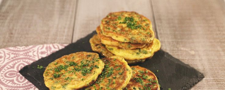 Spring Pea Pancakes with Cheese and Chives - the Chew // try with chickpea flour
