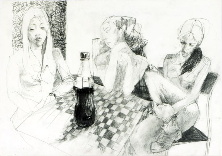 """""""waiting girls"""", pencil on paper"""